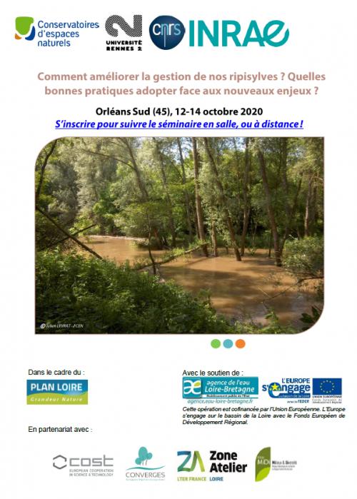 """Séminaire """"Comment améliorer la gestion de nos ripisylves ? Quelles pratiques adopter face aux nouveaux enjeux ?"""", 12 au 14 octobre 2020"""